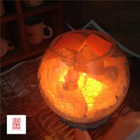 Wholesale Himalayan lonic crystal salt table lamp fashion new modern light iron lampshade for living room Salt Lamp Light Dimmer