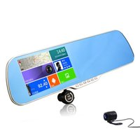 display mirror - Andriod gps navigator inch touch lcd rearview mirror car dvr dual lens p full hd car camera gps logger with parking system