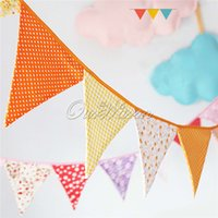 Outdoor Christmas Decoration banner media - Handmade m flags Bunting Double side Fabric Banner Garland Wedding Party Decoration