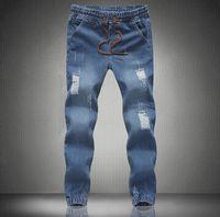 Wholesale New mens Stylish ripped Jogger Jeans Skinny biker jeans perfumes original Plus size S M L XXL XXXL XL XL elastic jeans