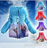 cotton velvet - 3 color Froze Elsa Anna down winter coat Kids thick long cotton padded clothes Jacket Coat outwear LJJA325