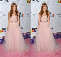 bella thorne - Bella Thorne Pink Celebrity Dresses Tulle Sweetheart Sexy Backless Sequin Beaded Crystal Pleats Prom Dress Evening Gowns Runway Fashion