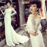 Wholesale Bling Wedding Gowns Bateau Neck Long Sleeve Lace Mermaid Wedding Dress Lace up Fast Ship