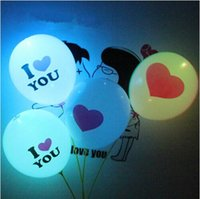 Wholesale Led Light Balloon with natural latex material colorful balloons quot I LOVE YOU quot and quot Heart quot shape romantic foil balloon for lover and christmas