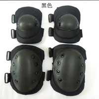 Wholesale 4pcs Set Genuine Black Knee Elbow Pads tactical knee protector outdoor camping CS bike safety protection Sports kneepad