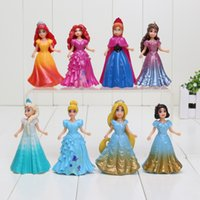 action figure clothes - 9CM PVC Princess Cinderella Elsa Anna Action Figure set doll dress can change clothes Classic Toys kids toys for girl