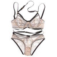 achat en gros de lace bra and panty sets-Euramerican Intimates soutien-gorge sexy transparent ensemble plus la taille des femmes gaine ultra-mince sous-vêtements ensemble dentelle creuse soutien-gorge et Panty Set