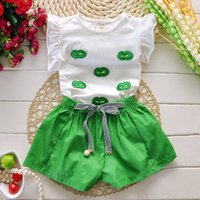Cheap 2015 Summer Fashion Children Outfits Short Sleeved T-shirt+Pants Clothing Suit Kids Girl Summer Clothing Set Baby Clothes M193