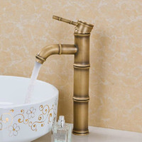 Brass bamboo basin faucet - Bathroom Basin Faucet Antique Brass Mixer Tap Bamboo Shape Design Crane