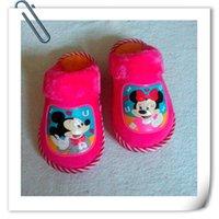 Wholesale 2015 New Kid s Slipper Children Shoes in Autumn Winter Children Brown Blue Rose Watermelon Soft Plush Slippers