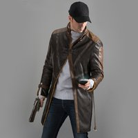 baton costumes - Fall New High Quality Watch Dogs Aiden Pearce Cosplay Coat Jacket Trench Hat Mask Baton Costumes
