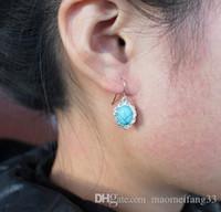 Moda azul retro pendientes de turquesa Plateado gota para el oído barato para la joyería de la aleación cuelgan encanto de las mujeres al por mayor de China barato