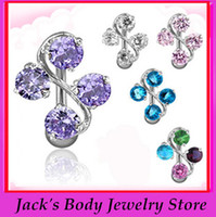 Wholesale zircon belly ring CF035 mix color belly ring navel button ring body jewelry
