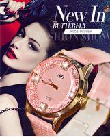 beauty tags - Beauty girls fashion watch butterfly diamond star style personality woman dress watches luxury brand quartz genuine leather lady clock pink