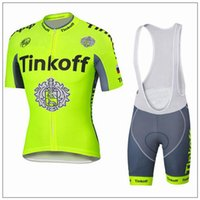 Wholesale Tinkoff Saxo New Arrival Cycling Jersey Set Fluo Yellow Short Sleeve With Padded Bib Trousers Ultra Breathable Bike Wear