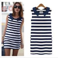 Wholesale Korean Stylish Summer Women Girls Blue White Sriped Denim Casual Jeans Dress DH04