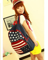 bag american flag - new fashion Casual style rivet American flag canvas Backpack students school bag tide women and men