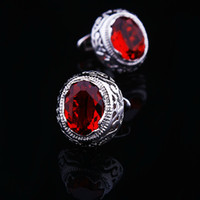 Wholesale X123I Exquisite Cufflink Copper Red Crystal Rhinestone Top Silver high quality Men wedding Shirt Button Accesorios