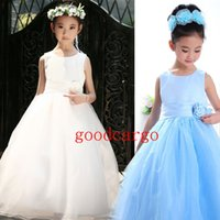Wholesale Flowergirl Dresses Tutu Tulle Lace Flower Girls Dresses for Weddings Junior Bridesmaid Dress Party Beam Waist Princess Dress Ankle length