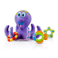 Wholesale Bath toys Nuby Bathtime Fun Octopus Hoopla Purple hand eye coordination Octopus and rings BPA free