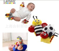 Cloth bee wristbands - 2016 Hot Baby sozzy Wrist rattle foot finder toys Bee Baby Rattle Socks Lamaze Baby Rattle Socks and wristbands