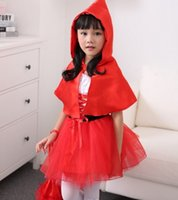 ballroom dresses - 2014 winter New Halloween cosplay female Tong Xiaohong cap clothing princess dress costumes for children containing cloak