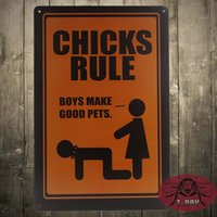 aluminum metal supply - CHICKS RULE Vintage Tin Sign Metal crafts festive supplies Bar Club Shop Bar decor
