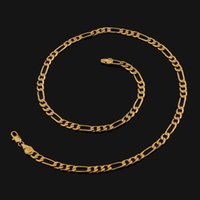 18k gold chain for men - 2015 new K Real Gold Plated Figaro Necklace Chains For Men High Quality Gold Filled African Necklaces MM Width Factory
