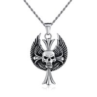 alternative necklaces - PrettyBaby Men Alternative Personality Skull Chain Stainless Steel Cross Nightclub Hype Surrounding Rock Feathered Wings pendant