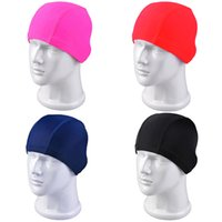 Adult swimming cap - Wholesales Fashion Men Women swimming caps high elastic fabric fashion solid color nylon swim cap Rose Red Navy Black UL0005 salebags