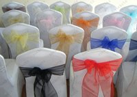 Wholesale Black Color Organza Chair Sash Chair Bow For Chair Cover Wedding Spandex Chair Cover