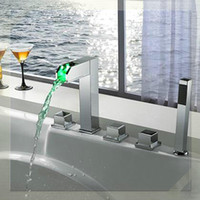 bath tub filler - Luxurious New Arrival Waterfall led Tub Faucet bath Filler antique colored sink