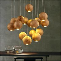 wooden ball - Modern LED wood chandelier Creative wooden small ball pendant lights European restaurant lighting fixture V V