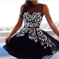 Jewel/Bateau beading daily - Little Black Homecoming Dresses Sheer Jewel Neck Beaded Crystals Chiffon Short Mini Cocktail Party Gowns Summer Daily Wear Dresses BO8713