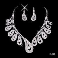 Wholesale 2015 New Hot Silver Plated Crystal Rhinestone Real Image In Stock Bridal Necklace Earrings Jewelry Sets For Evening Party Prom