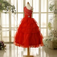 Wholesale Fashion In Stock Flower Girl Dresses Red and white beads beads girl PROM dress size