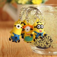 Cheap Despicable Me 2 Minion Action Figure Keychain Movie Anime Silicone Minions Figure Pendants Key Ring 8pcs Set for Gifts DM10075