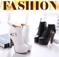 Wholesale Hot High Quality Autumn Winter Women Ankle Boots New Winter Martin Shoes Woman Leather High heel Women s Fashion Boots