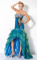 peacock dress - 2015 New Blue Exquisite Classy Prom Party Dresses Gown Sweeheart Crystal Mermaid Hi Lo Flod Sleeveless Peacock Dress