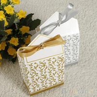 Wholesale 50pcs Creative Golden Silver Ribbon Wedding Favours Party Christmas Gift Candy Paper Box H H