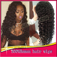 african american women hairstyles - 7A New Arrival Brazilian Virgin Remy Human Hair Deep Wave Curly African American Glueless Full Lace Wig Front Lace Wig For Black Women