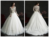 Cheap Amelia Sposa 2015 Tulle Ball Gown Wedding Dresses V Neck Long Sleeves Lace Appliques Beading Covered Button Leonor Bridal Gowns Court Train