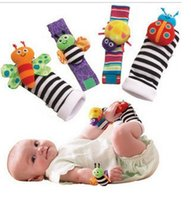 Wholesale 480pcs Fashion New arrival baby rattle baby toys Lamaze plush Garden Bug Wrist Rattle Foot Socks Styles By DHL