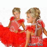cupcake charm - Girls Pageant Dresses Cupcake Dress New Charming Halter Crystal Beads Glitter Red Organza Party Dress Formal Flowers Girls Gowns B527