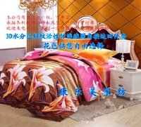 Wholesale 3D Bedding Sheet Bedcover Beauty Lily Flowers Style Bedding Bed Sheet Duvet Cover Pillowcase Home Textile Quilt