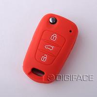 Wholesale Red silicone car key stickers cover case for KIA Rio K2 K3 K5 Bongo Sorento Soul Sportage Shuma Carens Borrego key chain keyrings