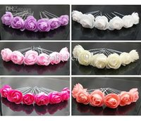 Wholesale 24PX Small Silk Rose Flower Hair Pins Wedding Bridal Flowers Accessory Bridesmaids
