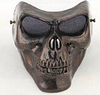 horror - Full face gold silver masquerade Airsoft mascara terror Skull mask Warrior armor carnival Paintball biker mask scary Halloween Horror Mask
