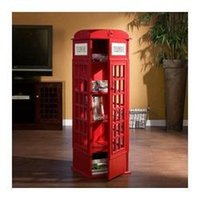 Wholesale Indoor UK telephone booth book cabinet CD rack living room decoration Wood Locker home decoration
