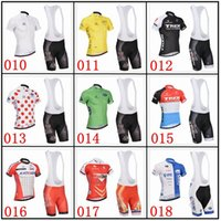 team wear - New Tour de France Cycling Jerseys Sets Team Sky Bike Suit Bike Jersey Cycling Wear Short Sleeves Shirt Bib Shorts Mens Cycling Clothing